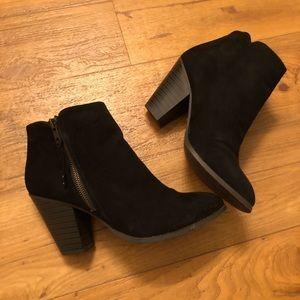 Black Faux Suede Ankle Heel Booties